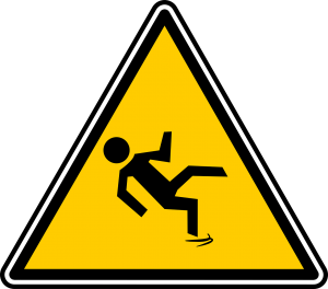warning sign where no anti slip paint is used