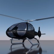 Protective exterior aerospace coatings on a black helicopter